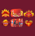 barbecue party emblems and people around grill vector image vector image