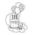birthday cake with candles and toy bear in black vector image
