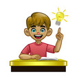 cartoon white boy student in class vector image vector image