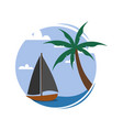circular sea small boat view travel island vector image