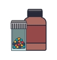 colorful pill bottle and remedy bottle vector image vector image