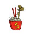 comic cartoon noodles in box vector image vector image