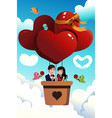 couple riding a hot air balloon vector image