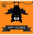 Cute bat and black ribbon Happy Halloween card vector image vector image