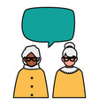 cute grandmothers couple interracial with speech vector image vector image