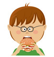 cute little nerd boy with glasses eats burger vector image vector image