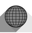 earth globe sign black icon with two flat vector image vector image