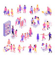 family shopping icons set vector image vector image