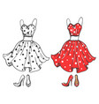 fashion polka dot dress and shoes vector image