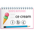 find missing letter with ice cream vector image vector image