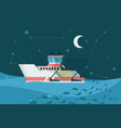 fishing boat in sea marine sky night landscape vector image