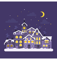 flat style of christmas winter night city vector image