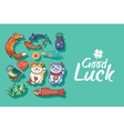 Good Luck Cute hand drawn card with lucky charms vector image vector image