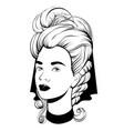 hand drawn pretty woman in vector image