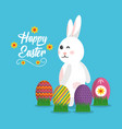 happy easter rabbit with eggs on grass poster vector image vector image