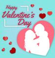 happy valentines day man and woman blue background vector image