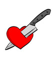 knife stab red heart shape sketch vector image vector image