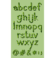 Letters of the alphabet in green colors vector image