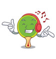listening music ping pong racket mascot cartoon vector image vector image