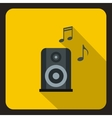 Music speaker and notes icon flat style vector image vector image