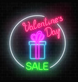neon valentines day sale glowing sign in circle vector image vector image
