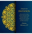 Ornamental blue with gold embroidery invitation vector image vector image
