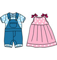Pink and blue baby clothes vector image vector image