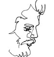 portrait of a man with a beard continuous line vector image vector image