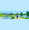 public park couple arabic man woman relax wooden vector image vector image