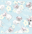 seamless pattern with cute cartoon dog puppies vector image vector image