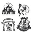 set camping emblems labels badges logos vector image