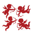 set cute cupid silhouettes vector image vector image