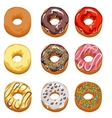 Set Multi-colored donuts vector image