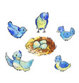 set of cute blue birds around the nest with eggs vector image vector image