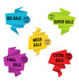 set of five colorful sale stickers with text vector image