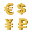 Set of golden symbols money Russian ruble Euro vector image vector image