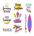 set summer logos tags stickers vector image