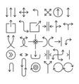 set thin linear arrows simple vector image vector image