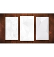 set white wrinkled stylized paper on wooden vector image
