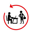 silhouette with manager in office and executive vector image