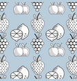 slice lemon with apple and grape with strawberry vector image vector image