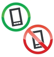 Smartphone permission signs set vector image vector image