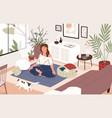 smiling girl sitting cross-legged in her room or vector image vector image