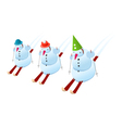 Snowmans on skis vector image