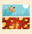 squirrel office worker with case coins and nuts vector image vector image