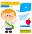 student boy and set school objects vector image