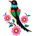 stylish oriental flower bird vector image