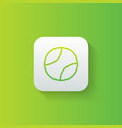 tennis ball line icon isolated on gradient vector image vector image