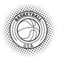usa basketball sport game in black and white vector image vector image