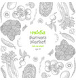 vegetables top view frame ink hand drawn vector image vector image
